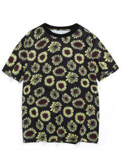 ZAFUL Camiseta De Vacaciones De Estampado De Girasol - Negro S