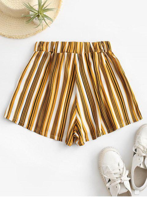 womens Tie Colorful Striped Shorts - YELLOW M Mobile