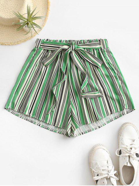 women's Tie Colorful Striped Shorts - GREEN S Mobile