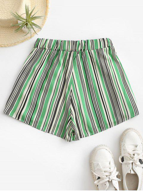 ladies Tie Colorful Striped Shorts - GREEN M Mobile