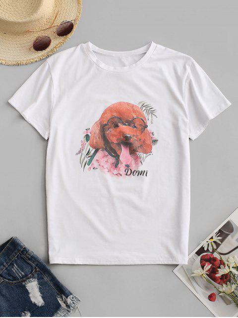 犬グラフィックTシャツ - 白 S Mobile