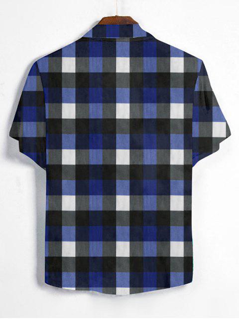 women's Gingham Print Short Sleeve Shirt - DENIM DARK BLUE L Mobile
