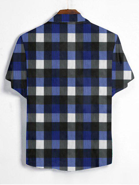 best Gingham Print Short Sleeve Shirt - DENIM DARK BLUE 3XL Mobile