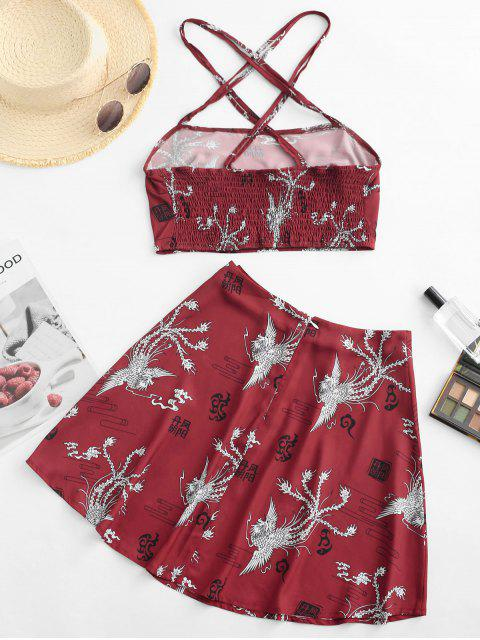 hot Criss Cross Oriental Phoenix Print Smocked Mini Skirt Set - RED S Mobile