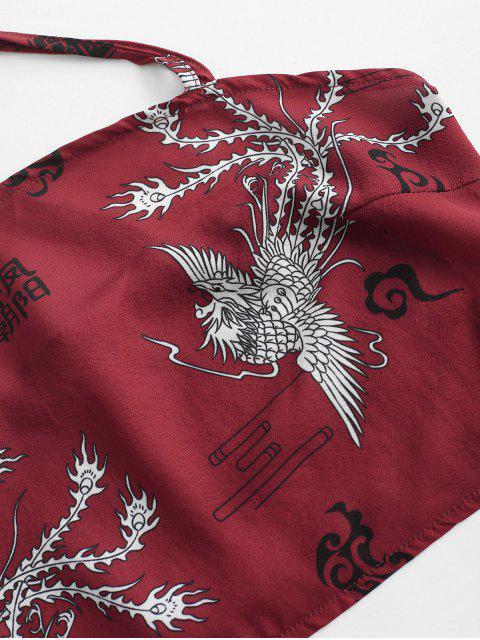 outfit Criss Cross Oriental Phoenix Print Smocked Mini Skirt Set - RED M Mobile