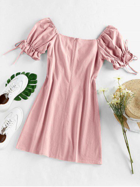 ZAFUL Puff Ärmel Rüschen Minikleid mit Bowknot - Hell-Pink XL Mobile