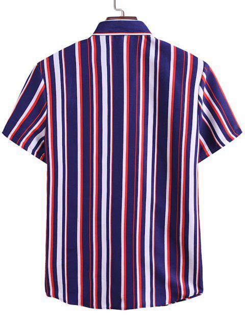 outfits Contrast Stripes Pattern Button Up Shirt - DENIM DARK BLUE 2XL Mobile