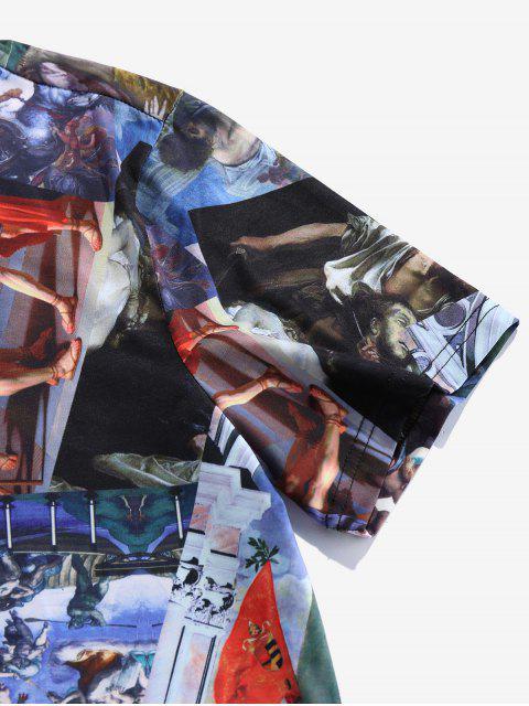 T-Shirt in Tinta Unita con Grafica di ZAFUL - Nero 2XL Mobile