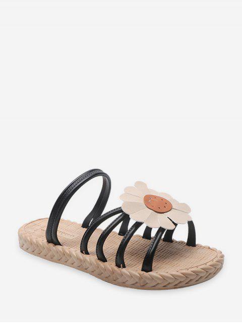 Flache Sandalen mit Sonnenblumendruck - Schwarz EU 40 Mobile