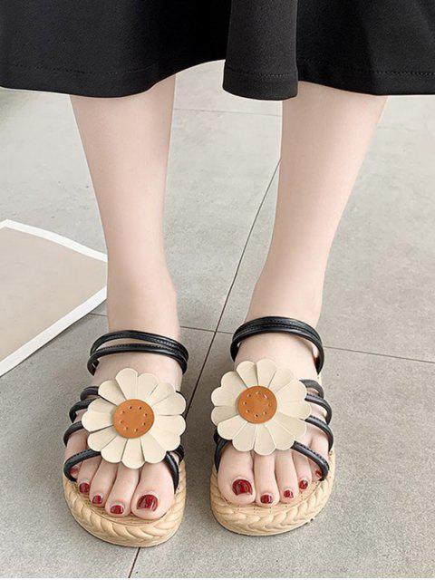 hot Sunflower Convertible Strap Flat Sandals - BLACK EU 38 Mobile
