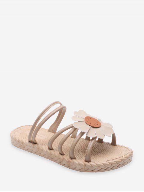 Flache Sandalen mit Sonnenblumendruck - Aprikose EU 39 Mobile