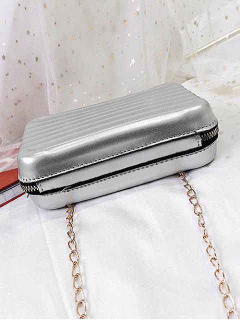 sale Suitcase Shape Chain Crossbody Bag - LIGHT GRAY  Mobile