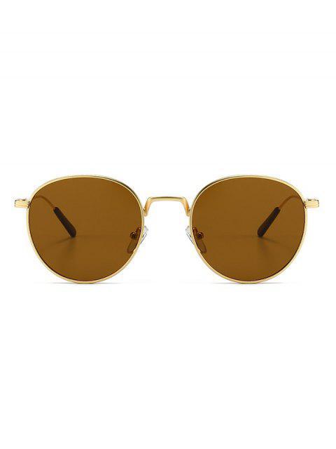 Retro Metal Round Sunglasses - بنى  Mobile