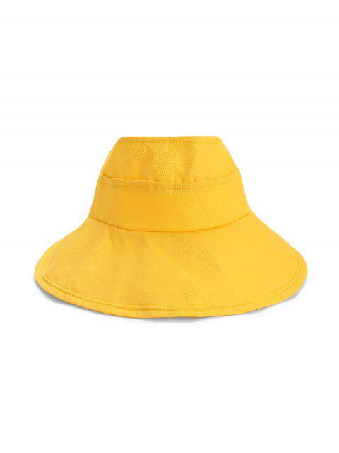 fashion Foldable Sunproof Solid Wide Brim Visor Hat - BRIGHT YELLOW  Mobile
