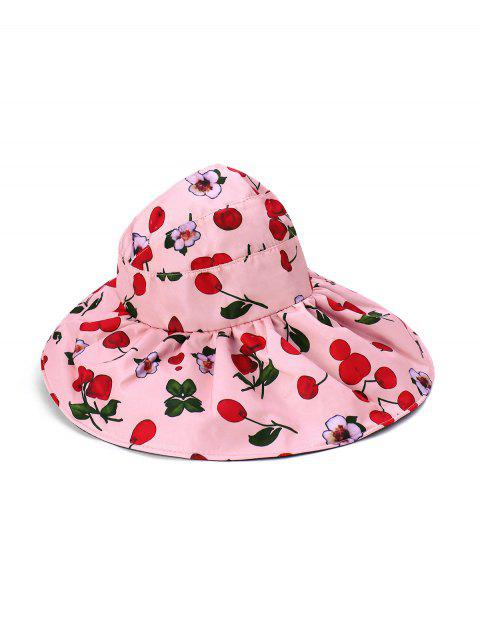 women Large Brimmed Sunscreen UV Vinyl Flower Printed Visor Cap - PINK  Mobile