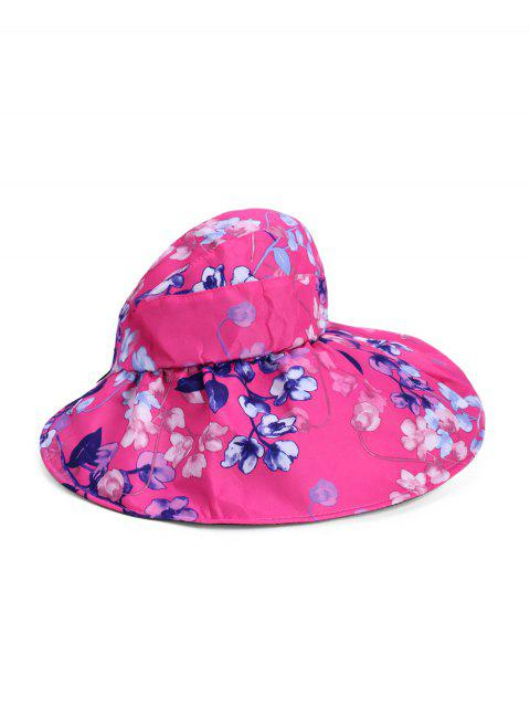 折り畳み式の花柄の夏UVプロテクションバイザーキャップ - ローズレッド  Mobile