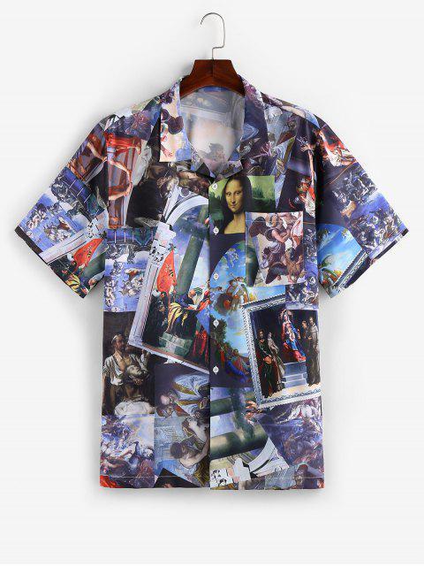 womens ZAFUL Renaissance Print Button Down Shirt - MULTI L Mobile