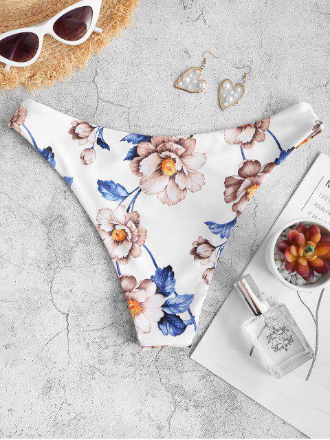 ZAFUL Blumendruck Basik Bikini Unterteile - Weiß L Mobile