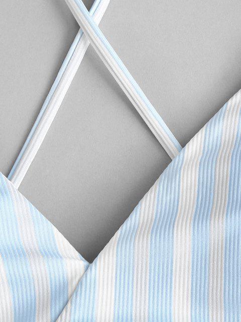 ZAFUL Biquíni de Três Peças com Riscas Cruzadas - Azul Claro S Mobile