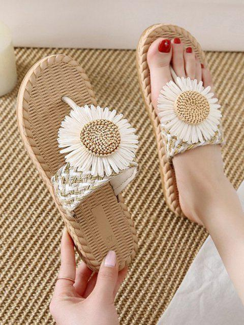 shop Flower Detail Braided Flip Flops - BEIGE EU 40 Mobile