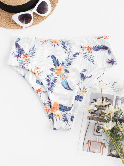 sale ZAFUL Sunflower Daisy Floral Ribbed High Waisted Bikini Bottom - DARK ORANGE L Mobile