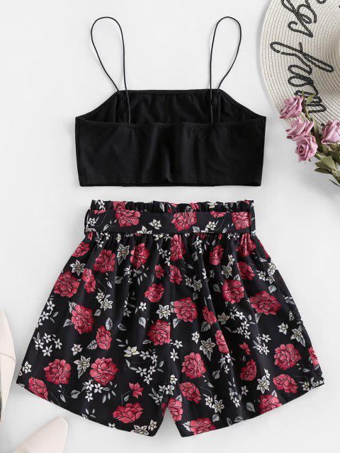shop ZAFUL Cami Crop Top and Floral Shorts Two Piece Set - BLACK S Mobile