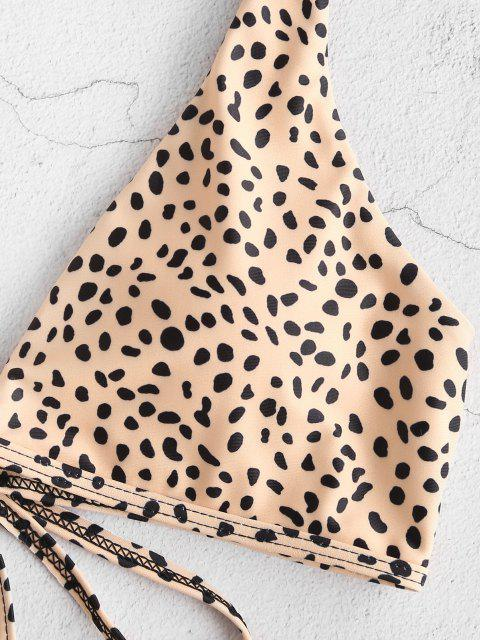 shops ZAFUL Tie Plunge Animal Print Bikini Swimsuit - LIGHT COFFEE S Mobile