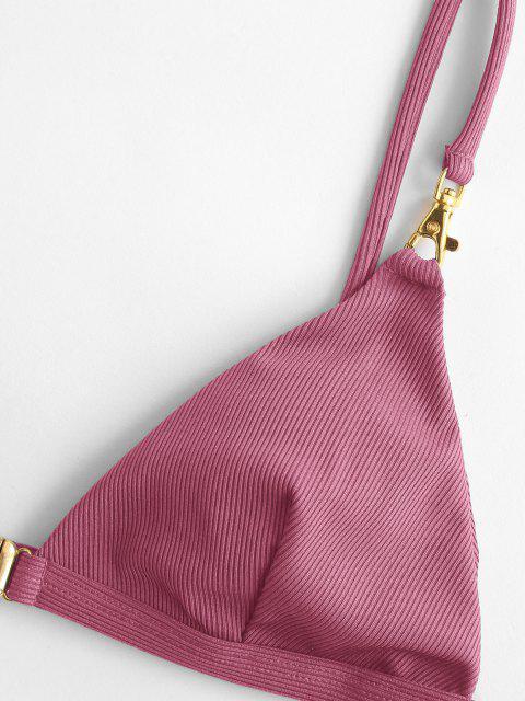 latest ZAFUL Front Closure Snap Hook Ribbed Bikini Swimwear - LIGHT PINK L Mobile