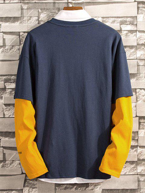 Zwei Ärmeln BuchstabedruckenFallschulter T-Shirt - Kadettenblau XL Mobile