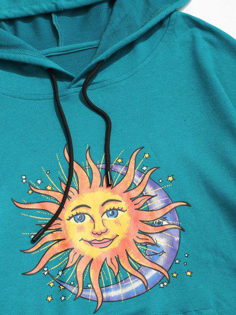 affordable Sun Moon Stars Print Kangaroo Pocket Hoodie - BLUE 2XL Mobile