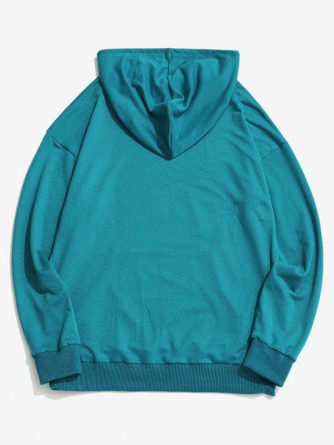 outfit Sun Moon Stars Print Kangaroo Pocket Hoodie - BLUE XL Mobile
