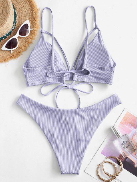 ZAFUL Maillot de Bain Bikini Côtelé Matelassé à Bretelle - Violet clair L Mobile