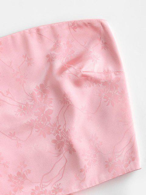 ZAFUL Haut Tube Court Fleur en Jacquard en Satin à Lacets - Rose Cochon M Mobile