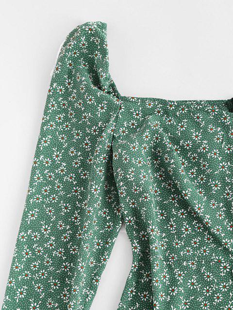 ZAFUL Gebundenes Ditsydruck Manschette Minikleid - Helles Meergrün XL Mobile