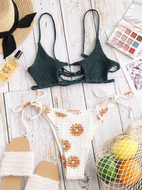 buy ZAFUL Flower Smocked Cutout Mix and Match String Bikini Swimwear - DARK ORANGE S Mobile