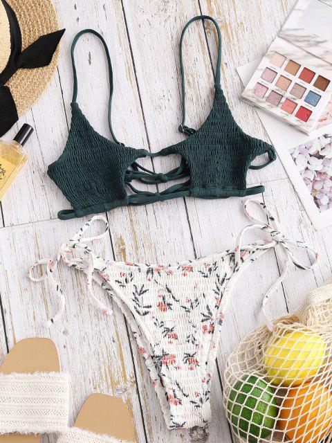 ZAFUL Costume da Bagno Bikini Serbatoio Ritaglio Strappy Floreale - Rosa Chiaro S Mobile