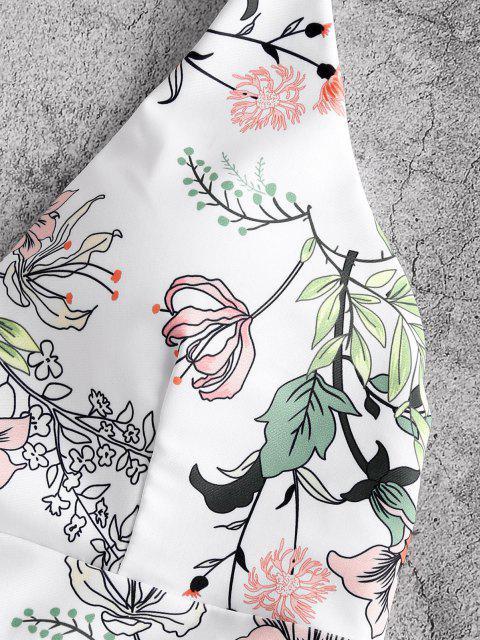 ZAFUL Blumen Blatt Kreuzer und Querer Bikini Badebekleidung mit Schnürung - Hell orange S Mobile