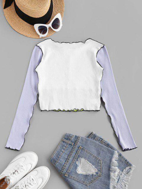 chic Topstitch Color Blocking Ribbed Lettuce Tee - LIGHT PURPLE S Mobile