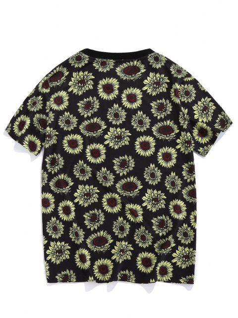 ZAFUL Sunflower Print Vacation T-shirt - أسود XL Mobile