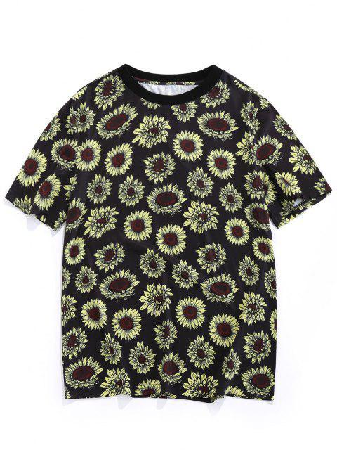 ZAFUL T-shirt de Férias Estampada de Girassol - Preto S Mobile