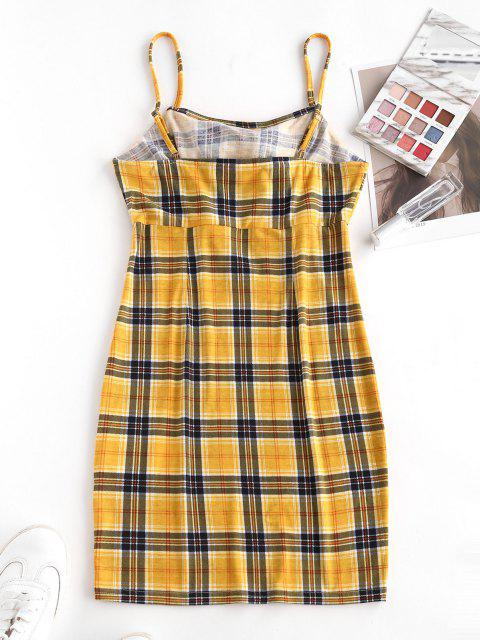 ladies ZAFUL Plaid Tied Cami Bodycon Dress - BRIGHT YELLOW S Mobile