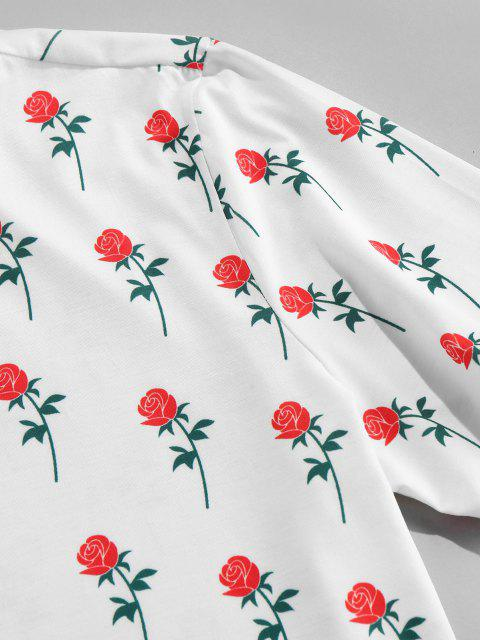 ZAFUL Rosen Blumendruck T-Shirt - Weiß M Mobile