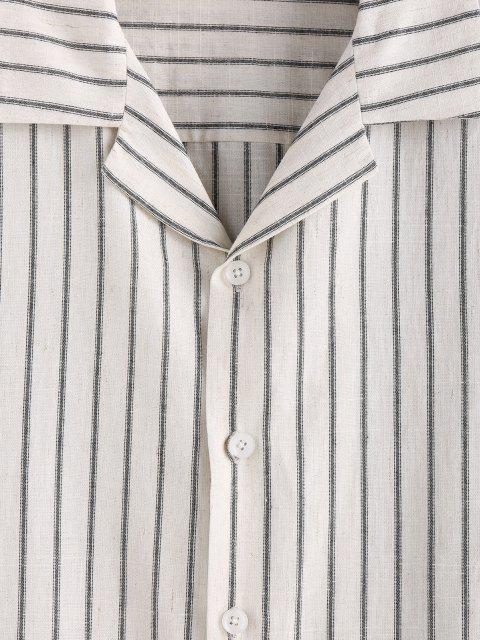 ZAFUL Streifen Knopf Hemd - Kristall-Creme XL Mobile