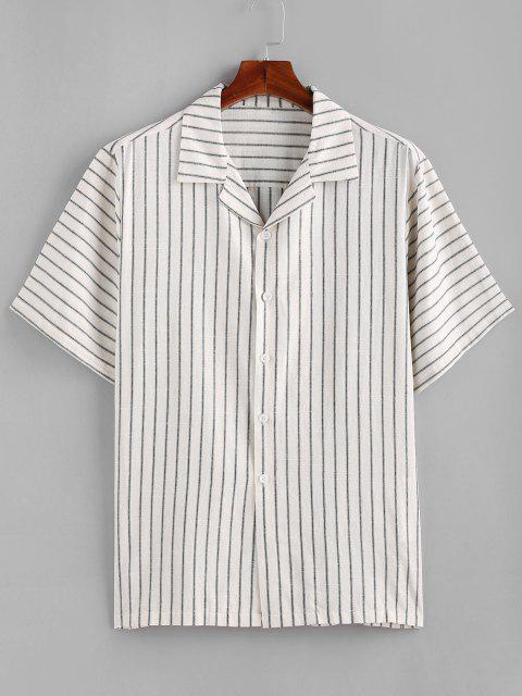 shop ZAFUL Stripes Button Down Shirt - CRYSTAL CREAM L Mobile