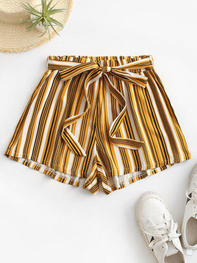 Tie Colorful Striped Shorts - Yellow M