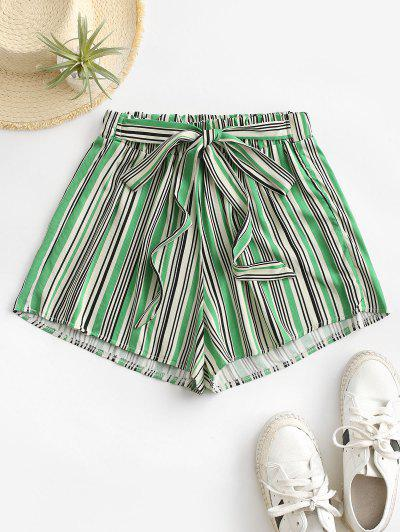Tie Colorful Striped Shorts - Green S