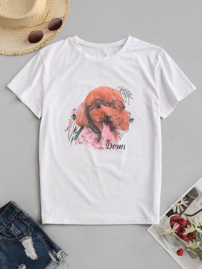 Dog Graphic Tee - White S