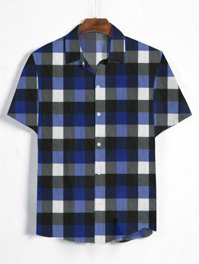 Gingham Print Short Sleeve Shirt - Denim Dark Blue 2xl