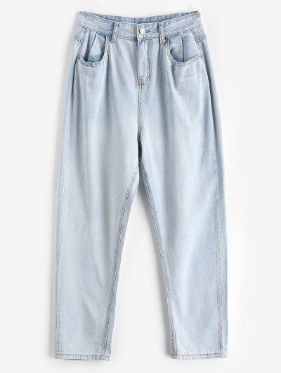 Tapered Mom Jeans - Light Blue S