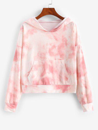 Tie Dye Drop Shoulder Pocket Pullover Hoodie - Light Pink M